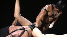 Submissive hunk takes a big toy up his ass, paving the road for a fist