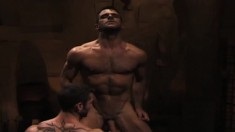Ripped Hunks Have Steamy Oral And Anal Sex In A Gay Threesome In A Crypt