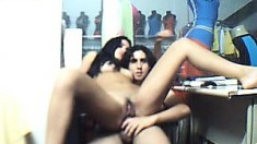 Brazilian pair making love on the clothing store