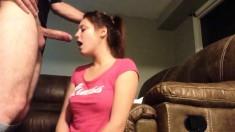 Redhead amateur GF gives blowjob 2
