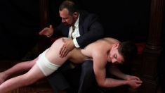 Priest Daddy Spanks Jock Butt Bent Over Knee