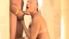 Hot Shower Sucking Mouth Cum Shot Swallowing Girl