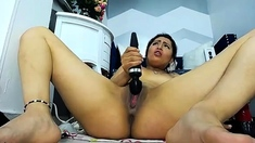 Naive young ginger plays with sextoys in solo masturbation